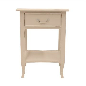 Orsieres Hand Crafted Mahogany Bedside Table - Distressed White Finish