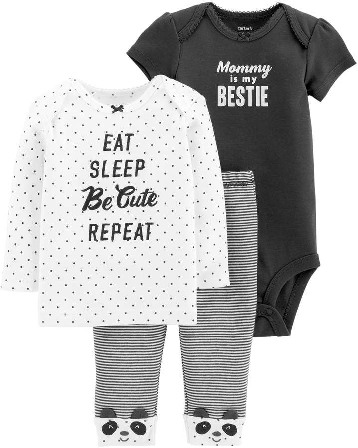 ca88f1a9a Baby Girl Carter's 3-piece. Graphic Bodysuit, Tee & Pants Set ...