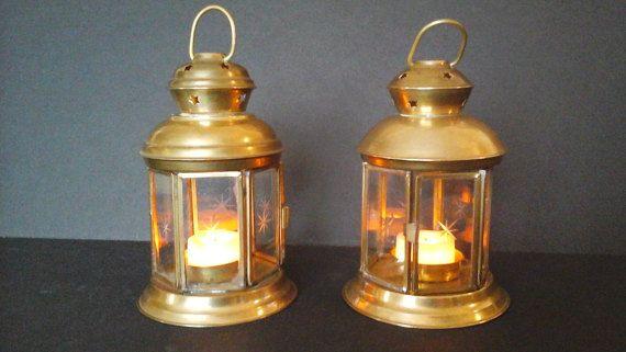 Brass Lantern Tea Light Holders Brass and by hillsidehomearts