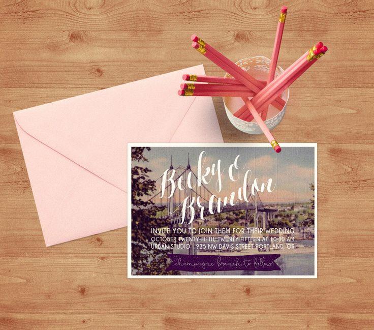 Custom Vintage Postcard Invitation Suite, Printable PDF, whimisical wedding invites, custom designed cityscape modern invitation by CielPapeterie on Etsy https://www.etsy.com/listing/264025721/custom-vintage-postcard-invitation-suite