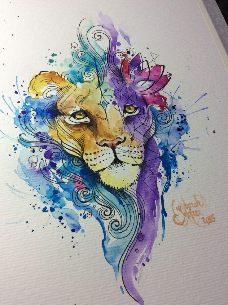 Watercolor Lion, for a tattoo.  Artist: Deborah Deh Soares. Studio Lotus Tattoo, Campinas - SP, Brazil. Facebook.com\studiolotustatuagem.