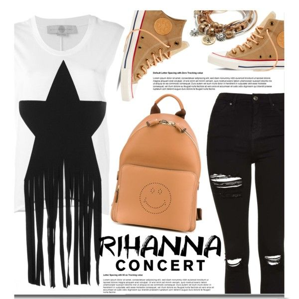 Hot Ticket: Rihanna Concert by justkejti on Polyvore featuring STELLA McCARTNEY, Topshop, Converse, Anya Hindmarch, Lizzy James, denim, converse, backpack and Rihanna