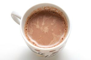 how to make hot chocolate from scratch: cocoa powder, sugar, vanilla and milk. Made this and it was delicious! A little less chocolate-y with almond milk, but still good!