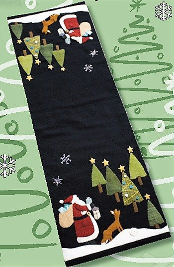 Primitive Applique Pattern or Pattern w/Wool Kit. Note: Kit price includes additional postage fees built in. Choose from the drop down whether you would like to purchase the Pattern Only or the Wool Kit with Pattern. Then Add to Cart. A wonderful, festive design by Nutmeg Hare. Create a lovely holiday runner that is sure to brighten up your holiday decor. Finished runner measures 12 x 36.