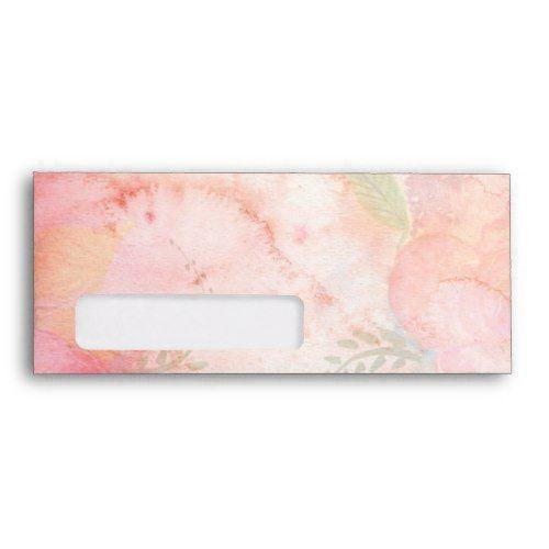 Watercolor Pink Floral Background Envelope