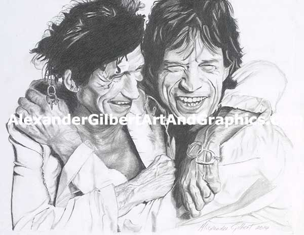 Rolling Stones - Keith Richards & Mick Jagger celebrity artwork by Alexander Gilbert.  Buy prints here: http://fineartamerica.com/featured/rolling-stones-keith-richards-and-mick-jagger-pencil-alexander-gilbert.html