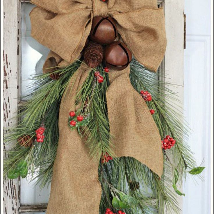 Cedar, Pine Cone, and Rustic Bell Swag