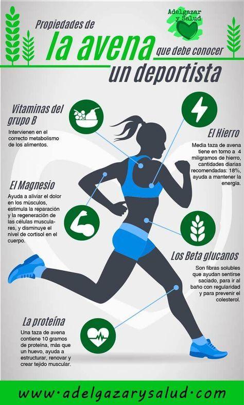 infografía de mujer corriendo con los beneficios de la avena para deportistas