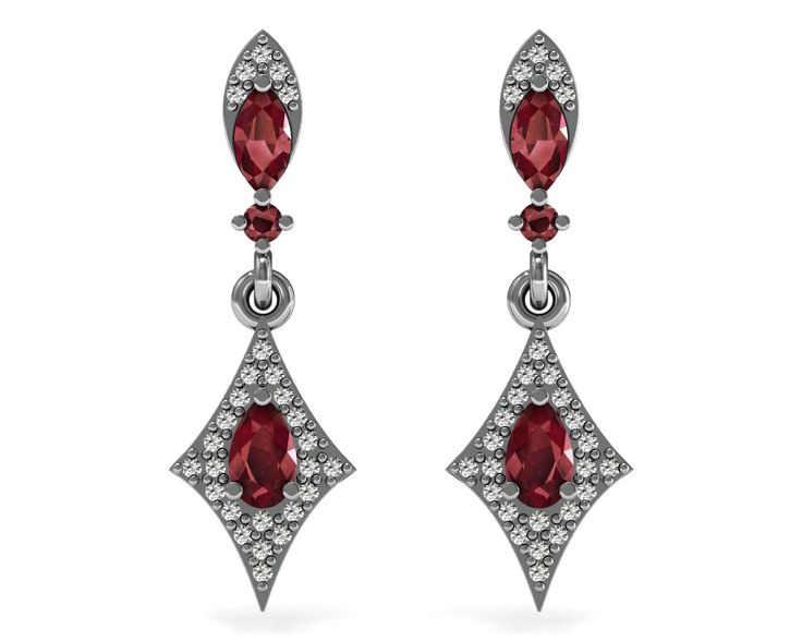 Wedding Gift Ruby Dangle Earrings Solid 18k White Gold Certified Diamond Jewelry