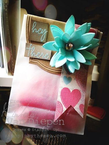 """WELCOME KIT- Love how the """"hey there"""" stamp was used on this adorable package."""