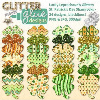 Lucky Leprechaun's Glittery St. Patrick's Day Shamrocks Cl