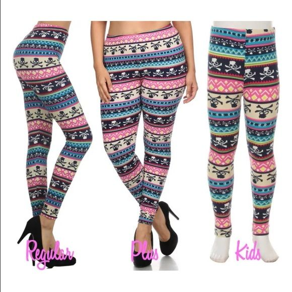 Skull Tribal Aztec Leggings  PLUS size  NWOT  Simply stunning!! These leggings will fit a size 6 to 16 comfortably!! Pants Leggings