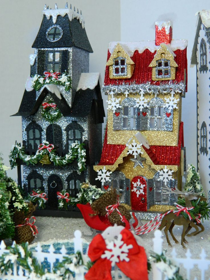 All mine designs, by Sharon Smith, 2016, Tim Holtz inspired, original house, and new village dwelling, brownstone, beach hut, altered.