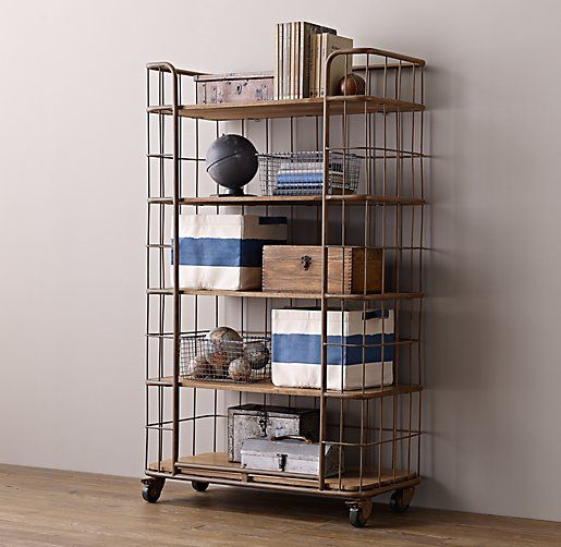 Industrial Baker's Storage Rack - Large. Aged rust finish. Shelves have a weathered natural finish with gentle distressing and worn edges for a look of vintage authenticity.