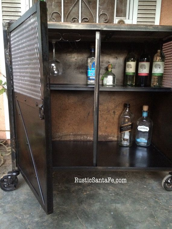 industrial locking liquor cabinet salon station by