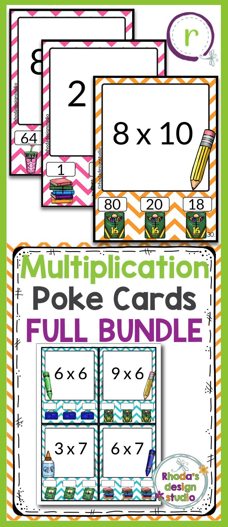 These self checking multiplication Poke Cards are great task cards that can be used for independent practice, early finisher activities and centers. They can also be used for whole group SCOOTs or small group lessons and interventions. This set includes the fact families for 2-11. 108 quarter sheet task cards (4 tasks per sheet). multiplication practice, task cards, interactive flash cards