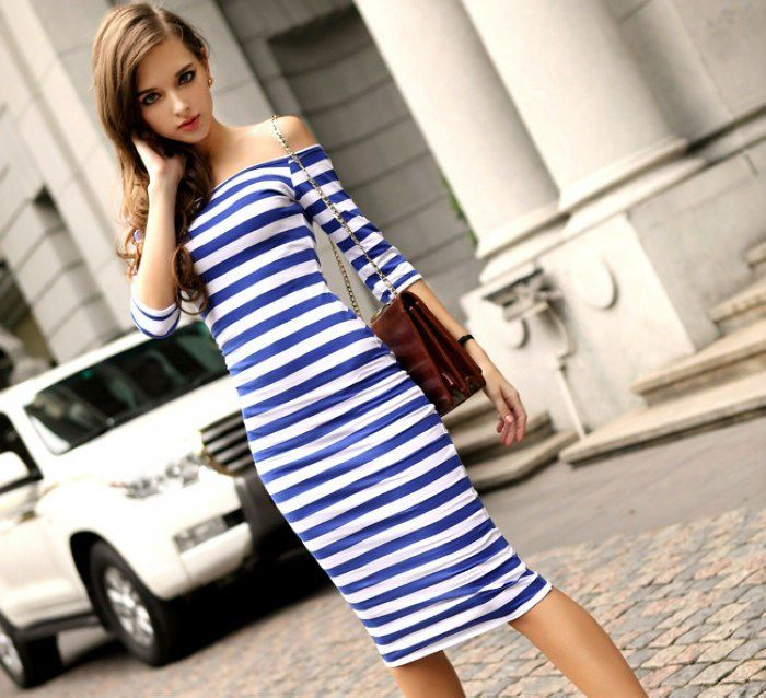 Summer New Fashion Sexy Off The Shoulder Knee Length Strapless Stripe women's dresses 2014 Free Shipping 1 004,95 руб.