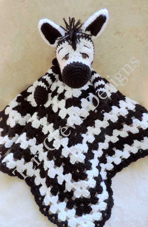 Zebra Huggy Blanket Crochet Pattern Baby Blanket, Softie, Lovey Pattern by Teri Crews