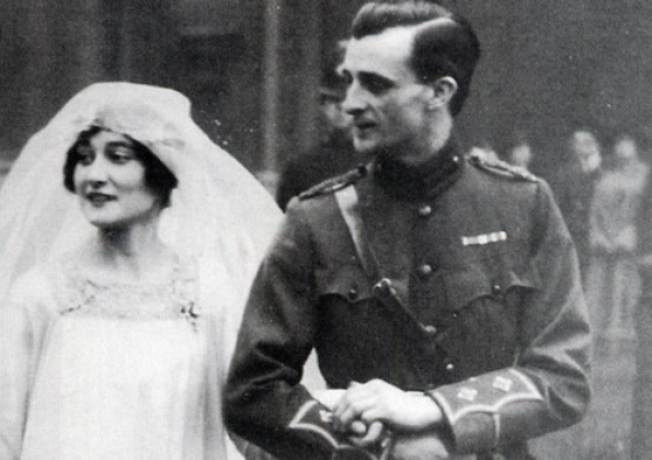 John, 9th Duke of Rutland, and his bride, Kathleen Tennant (Kakoo), on their wedding at St Margarets Church, Westminster, on January 27, 1916: Royals Bride