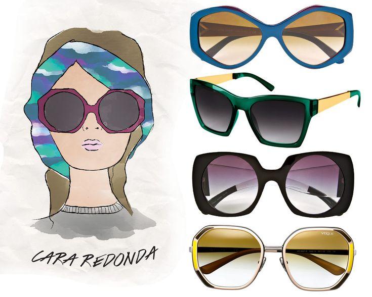 Especial Guía Lentes Tipo de Cara Personalidad. CARA REDONDA. Hexagonales, Burberry; Futuristas, Marc Jacobs; Difuminados, Chanel, en Saks Fifth Avenue México; Retro, Vogue.