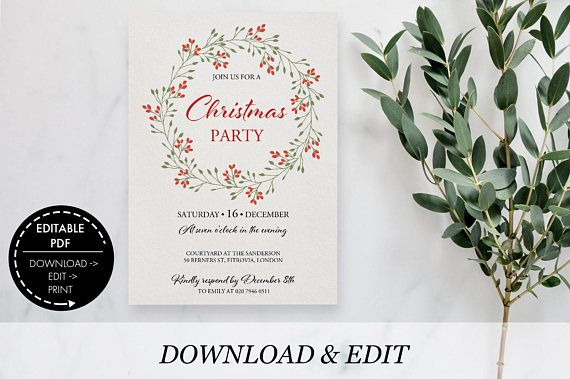 Christmas Party Invitation editable Template Printable pdf