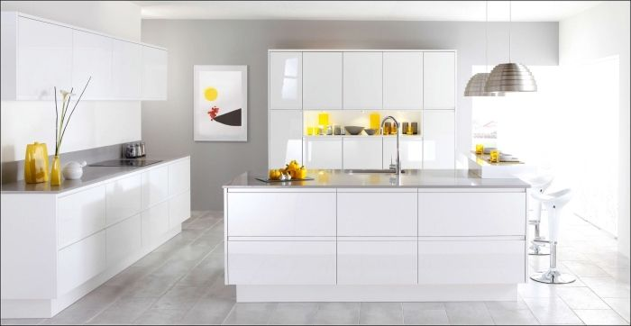 94 Design De Cuisine Blanche Et Grise Tendance Deco Pour 2019 Cuisine Moderne Blanche Cuisine Blanc Laque Cuisine Moderne