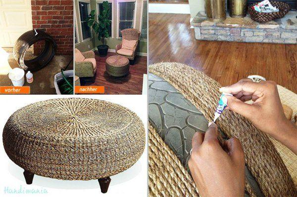 heißkleber DIY Möbel aus Autoreifen seil umwickelt