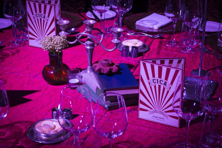 Steampunk Circus Gala Dinner vintage table centrepieces.