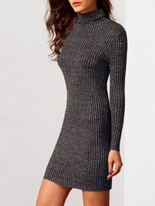 Robe pull moulante col roulé manches longues -noir-French SheIn(Sheinside)