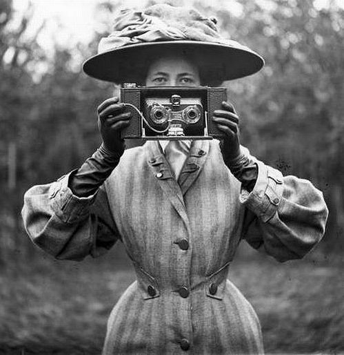 Stereoscopic camera in the hands of a well to do enthusiast at the beginning of the 20th century.
