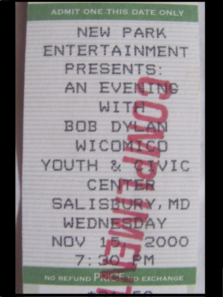 Bob Dylan 2000 Essential Bob Dylan Tour Original unused concert ticket by TangibleMusic on Etsy