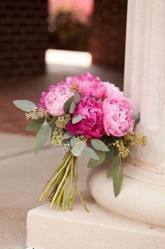 Buquê com peônias rosas