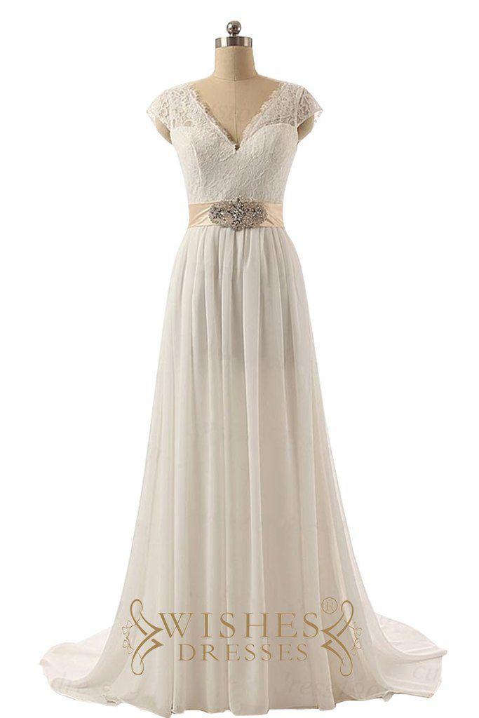 Cap Sleeves Deep V-cut Beach Wedding Dresses AM550