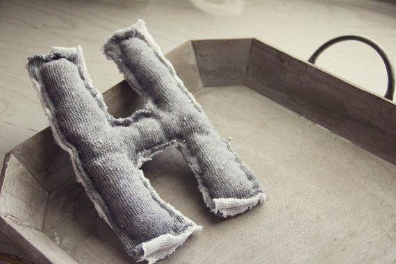 Rustic letter pillow - grey cotton - alphabet 14.75