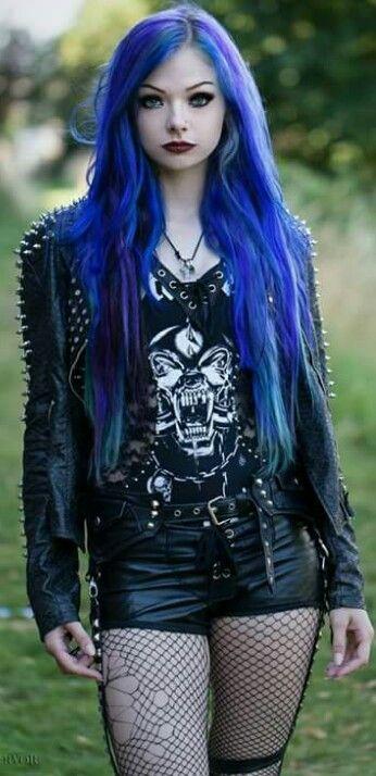 Blue hair punk scene by Sophie storm