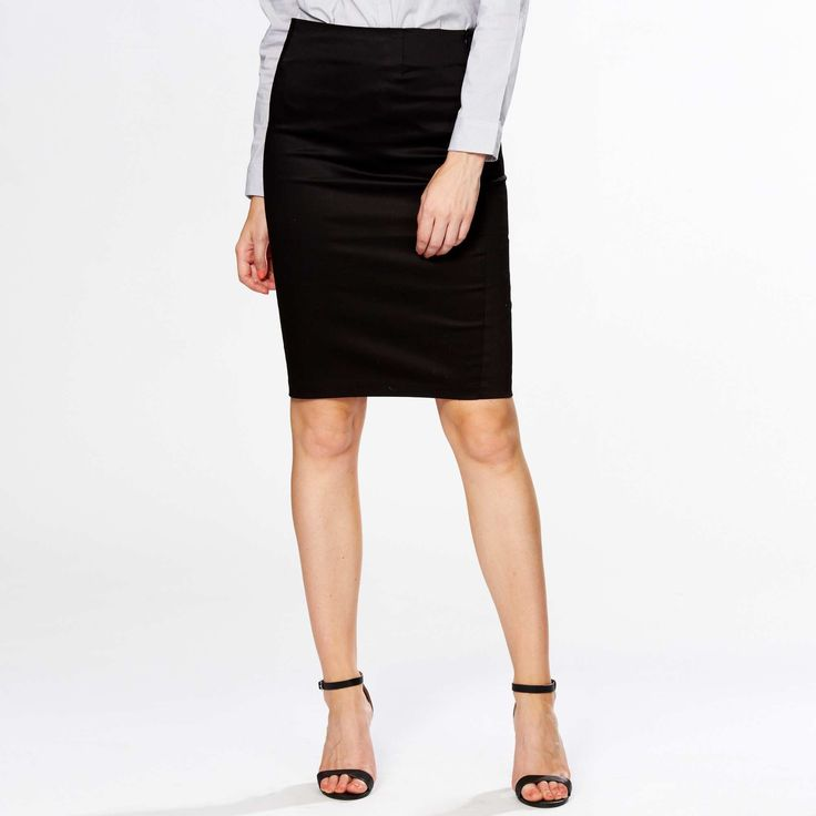 Falda de tubo de satén de algodón                                                                                                                                             negro Mujer