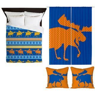 Moose Duvet cover + Orange Dot Curtains + 2 cushion covers by sparkheadkids.com