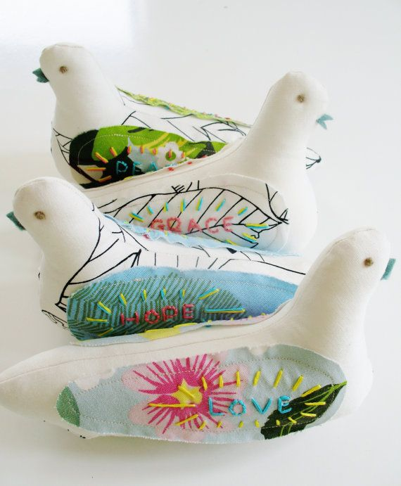 Fabric doves Gift set Embroidered Scandi fabric birds by Birdagram, €59.50