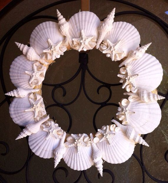 Sea Shell Wreath on Etsy, $79.00, Let's be honest, I would spray paint this bad boy fuchsia