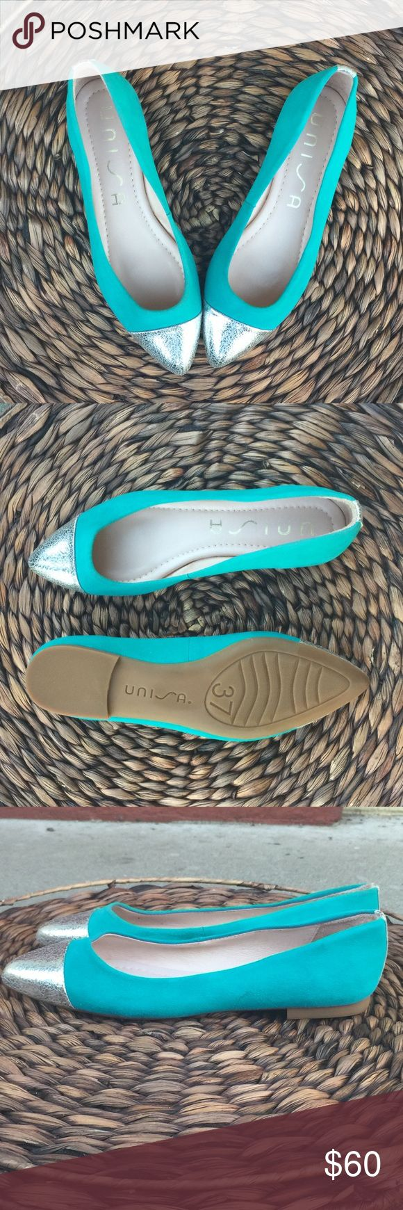 Unisa Teal Flats NEW Without Tags, never worn. Beautiful flats, blue with silver. Leather. Made in Spain . Unisa Shoes Flats & Loafers