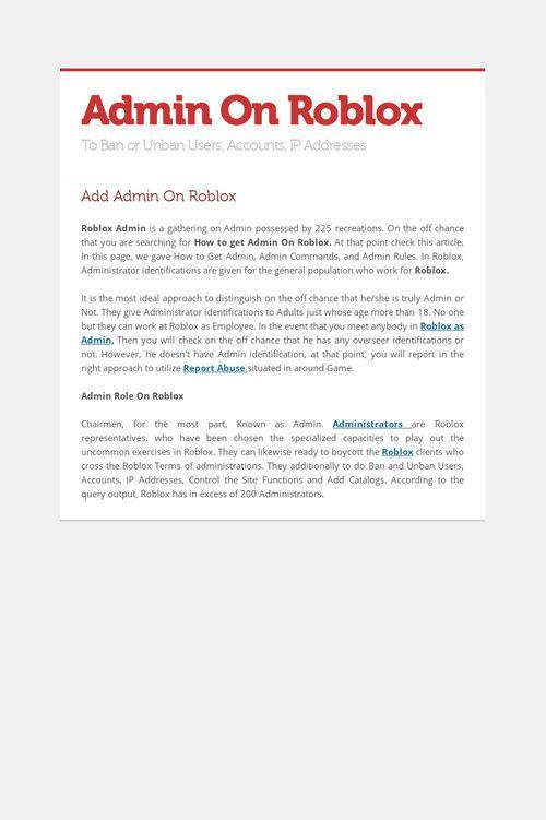 Admin On Roblox | Admin On Roblox