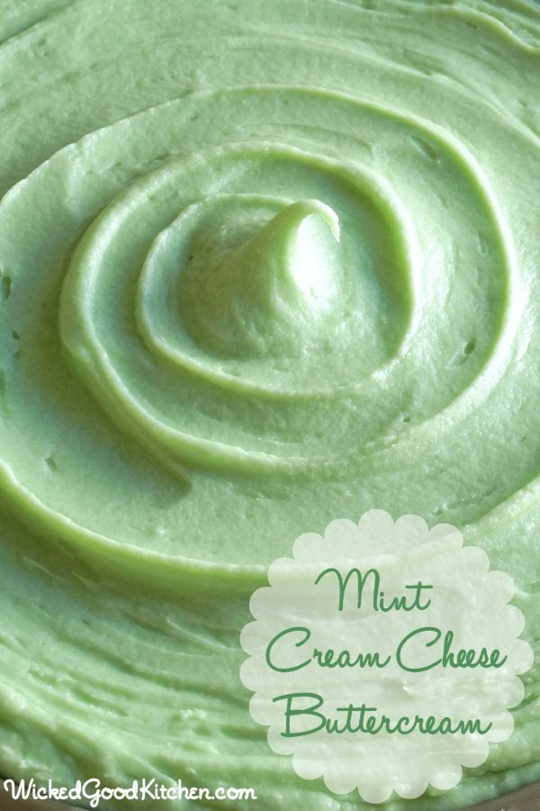 Mint Cream Cheese Buttercream by WickedGoodKitchen.com ~ Cool mint flavor, light and fluffy cream cheese buttercream that pipes beautifully. Natural green color. It tastes like rich mint cheesecake and the texture is like mousse! #cake #dessert #filling #frosting #recipe