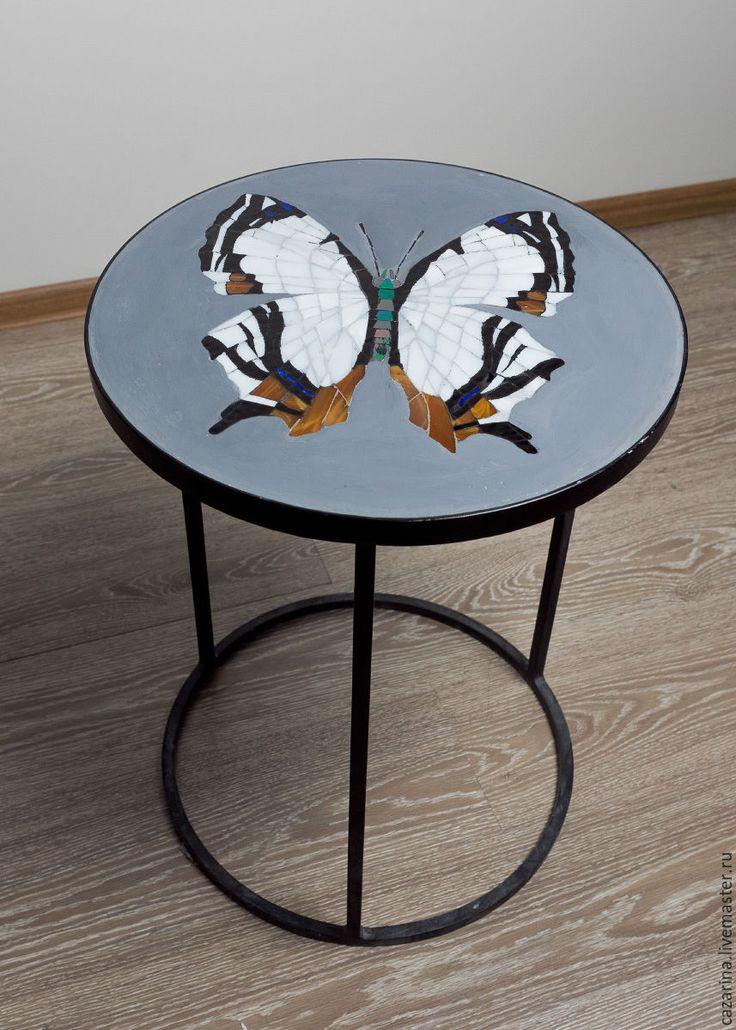 """Купить Кофейный столик """"БАБОЧКА"""" - серый, стол, ручная работа, мебель на заказ, мебель в гостинную"""
