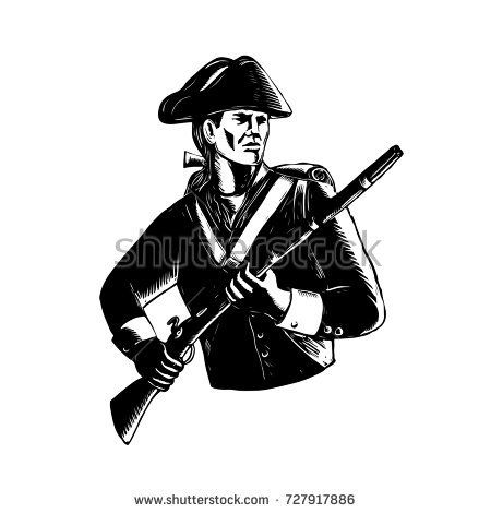 Scratchboard style illustration of an American Patriot holding musket rifle done on black and white scraperboard on isolated background.  #patriot #scratchboard #illustration