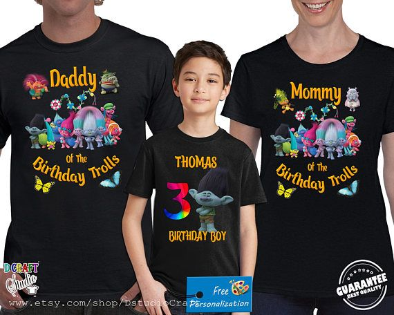 Custom Birthday Shirts Trolls Personalized T-shirts