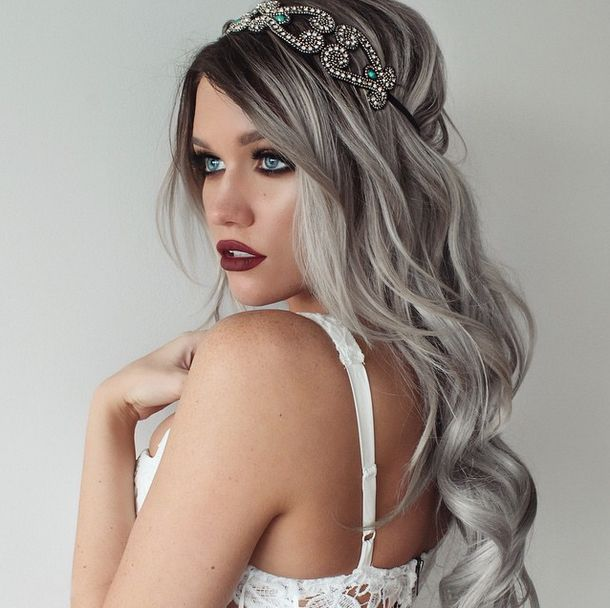 Silver hair with dark roots