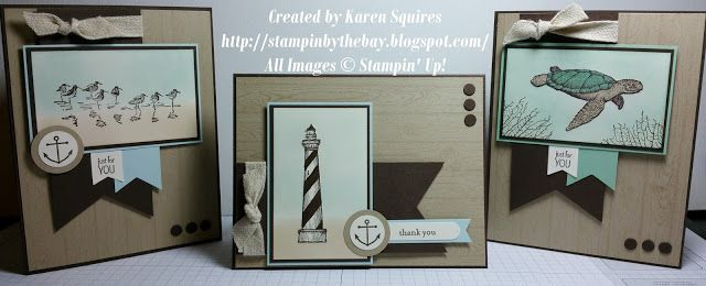 trio of hand crafted cards from Stampin' By The Bay ... great color combo: kraft and sky blue with black accents  ...seashore themes ... banners with fishtail ends cut with the  triple banner bunch ...