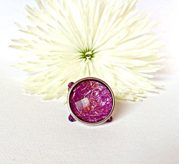 Purple Stretch Ring Purple Rhinestone by CraftinistasBoutique
