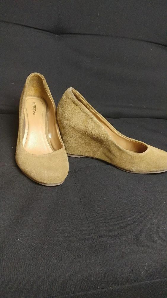 2cbbadfba577 7 1 2 - tan Leather Merona wedge heels  fashion  clothing  shoes   accessories  womensshoes  heels (ebay link)   WomensshoesThatWillLastALifetime