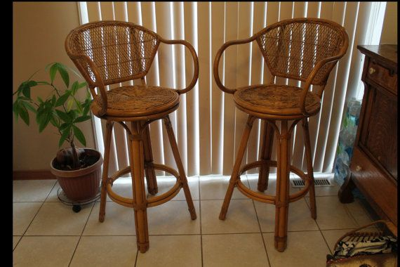 Pair of Vintage Wicker Rattan Swivel Arm Chair Stools - Mid Century Modern Swivel Wicker Rattan Stools - Vintage Tropical Furniture